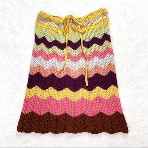 Missoni Orange Label Zig Zag Crochet Knit Skirt 44